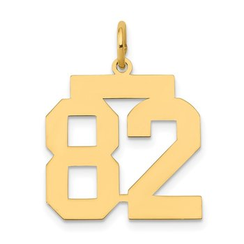 14k Medium Polished Number 82 Charm