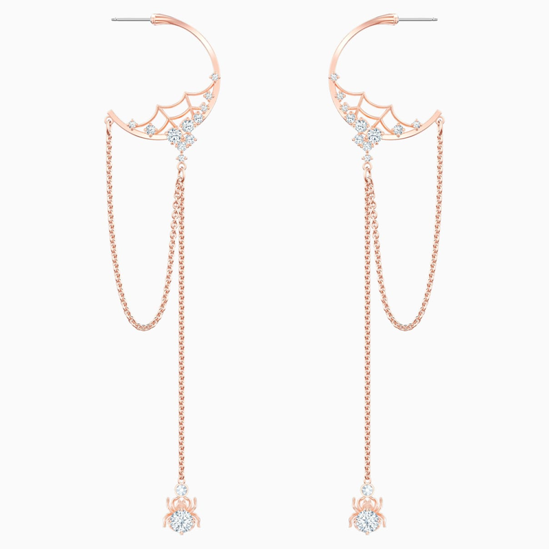 Swarovski Precisely Hoop Pierced Earrings, White, Rose-gold tone plated