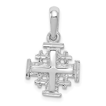 14k White Gold Jerusalem Cross Charm