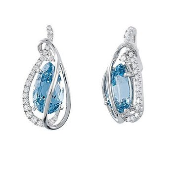 Aqua Blue Spinel Earrings-CE3732WAQ