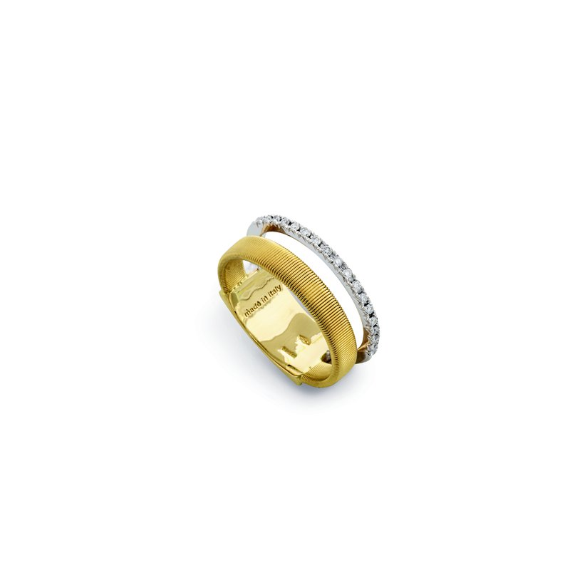 Marco Bicego Masai Two Row Pave Diamond Ring In Yellow & White Gold