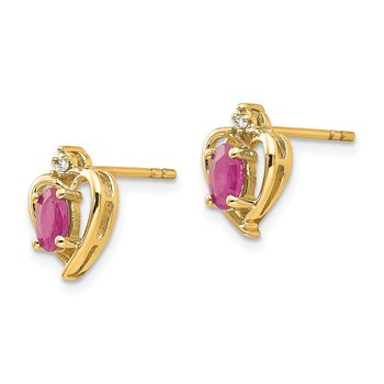 14k Ruby and Diamond Heart Earrings