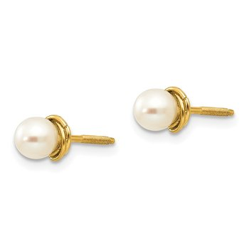 14k Madi K 4-5mm Semi-round FW Cultured Pearl Love Knot Post Earrings