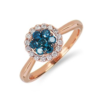 14K RG Center Cluster Blue and White Diamond Halo Ring in Pressure Setting
