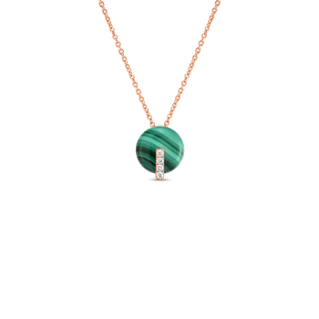 18Kt Gold Disc Pendant With Diamonds And Malachite