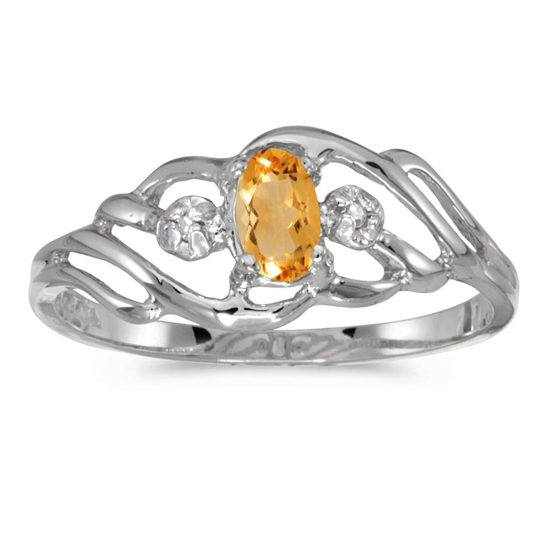 Color Merchants 10k White Gold Oval Citrine And Diamond Ring