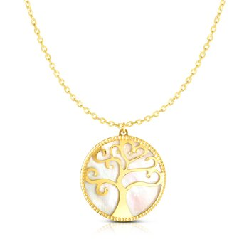 14K Gold Mother of Pearl Tree of Life Necklace