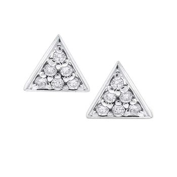 Diamond Triangle Stud Earrings in 14K White Gold with 12 Diamonds Weighing  .12ct tw