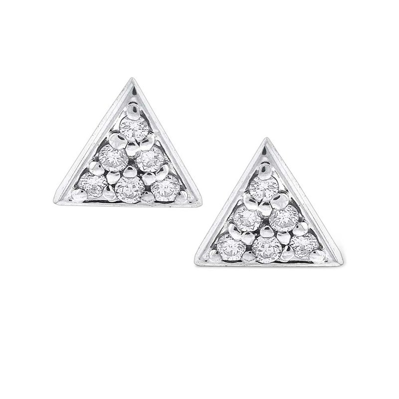 KC Designs Diamond Triangle Stud Earrings in 14K White Gold with 12 Diamonds Weighing  .12ct tw