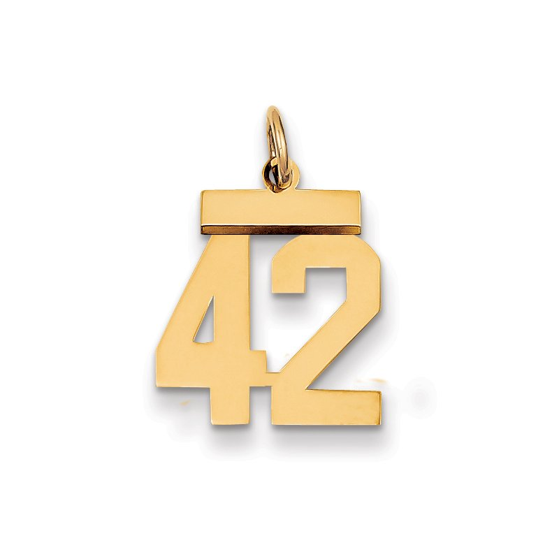 Quality Gold 14k Small Polished Number 42 Charm
