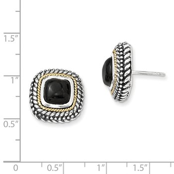 Sterling Silver w/14k Cabochon Onyx Post Earrings
