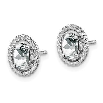 Sterling Silver Rhod-plat White Topaz Oval Post Earrings