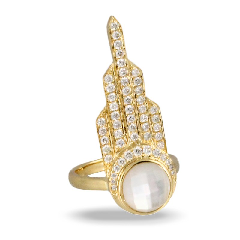 Doves White Orchid Diamond Accent Ring 18KY