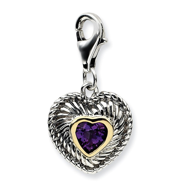 Shey Couture Sterling Silver w/14k Amethyst Antiqued Charm