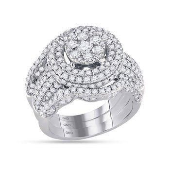 14kt White Gold Womens Round Diamond Cluster Bridal Wedding Engagement Ring Band Set 2-1/2 Cttw