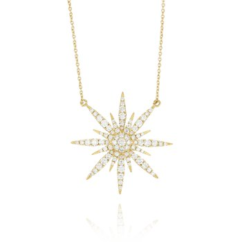 Diamond Sunburst Necklace 18KY