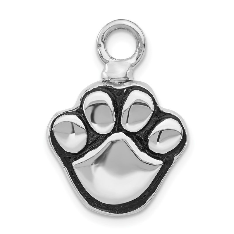 JC Sipe Essentials Sterling Silver Rhodium-plated Enameled Paw Ash Holder Bottle Pendant