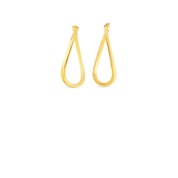 18Kt Gold Twist Oval Hoop Earrings