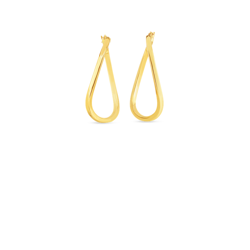 Roberto Coin 18Kt Gold Twist Oval Hoop Earrings