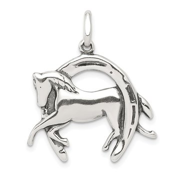 Sterling Silver Antiqued Horse in Horseshoe Charm
