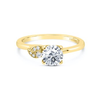 Petite Floral Diamond Engagement Ring