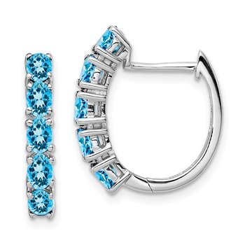 Sterling Silver Rhodium Polished London Blue Topaz Hinged Hoop Earrings