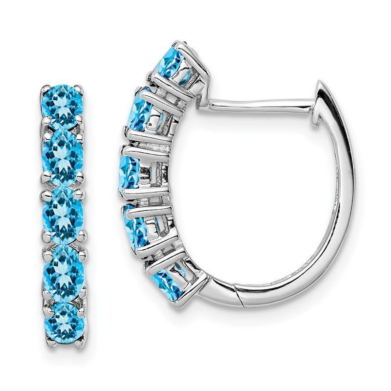 Quality Gold Sterling Silver Rhodium Polished London Blue Topaz Hinged Hoop Earrings
