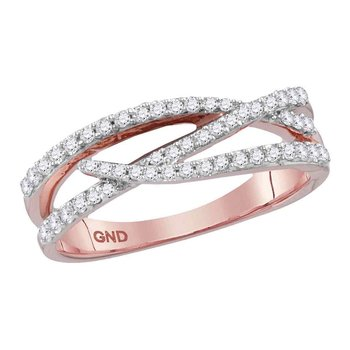 10kt Rose Gold Womens Round Diamond Crossover Woven Band Ring 3/8 Cttw