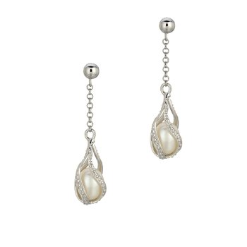 Silver Enclosed Freshwater Pearl and CZ Drop Earrings