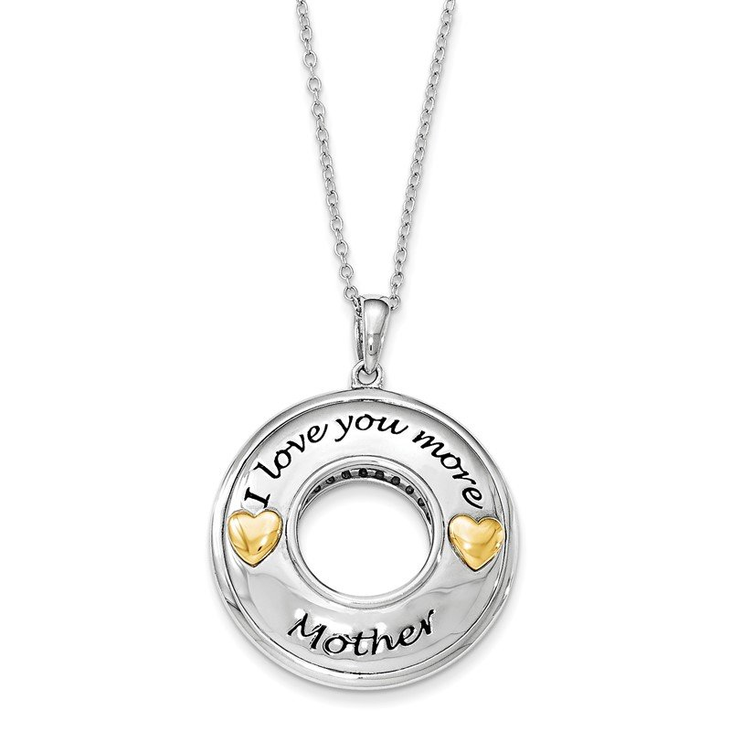 Quality Gold Sterling Silver GoldPlate Antiqued CZ I Love You More Mother 18in. Necklac