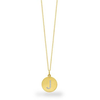 "Diamond Disc Initial ""J"" Necklace in 14k Yellow Gold with 8 Diamonds weighing .04ct tw."