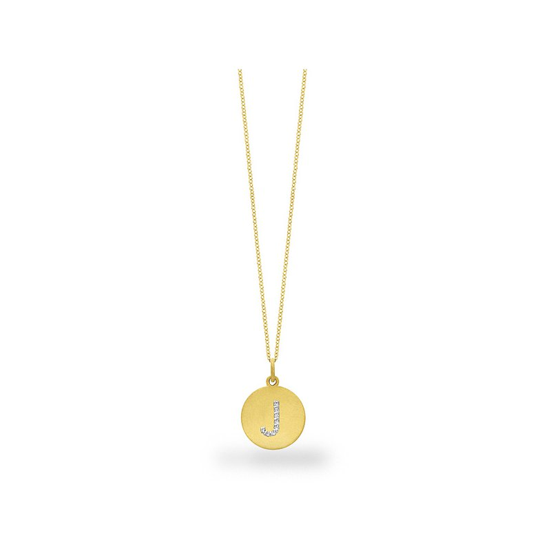 "KC Designs Diamond Disc Initial ""J"" Necklace in 14k Yellow Gold with 8 Diamonds weighing .04ct tw."