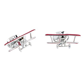 Red Biplane Cufflinks with Rotating Propeller