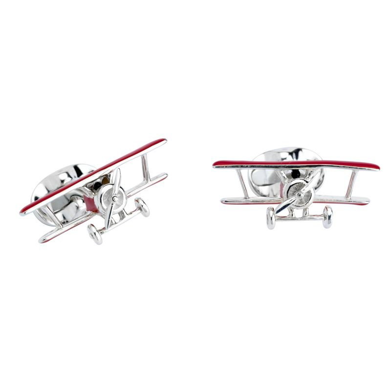 Deakin & Francis Red Biplane Cufflinks with Rotating Propeller