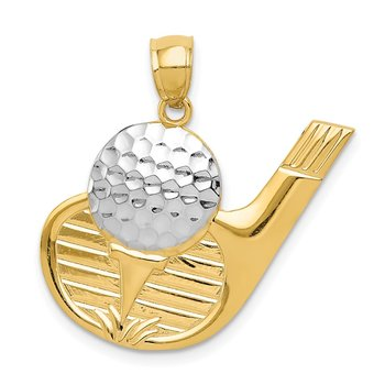 14k and Rhodium Golf Pendant