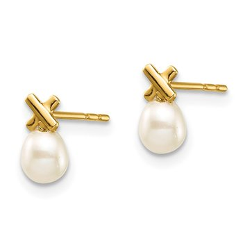 14k Madi K 3-4mm White Rice Freshwater Cultured Pearl Post Earrings