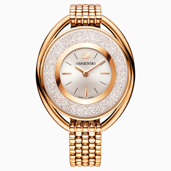 Crystalline Oval Watch, Metal bracelet, White, Rose-gold tone PVD