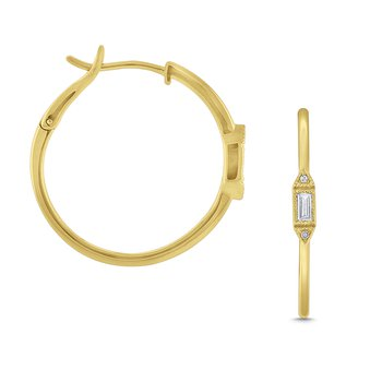 Diamond Art Deco Hoop Earrings Set in 14 Kt. Gold