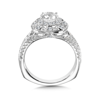 Halo Engagement Ring Mounting in 14K White Gold (.53 ct. tw.)