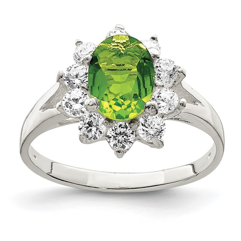 Quality Gold Sterling Silver Lime Green Oval CZ Cluster Ring
