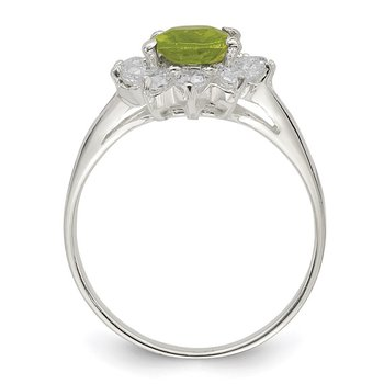 Sterling Silver Lime Green Oval CZ Cluster Ring