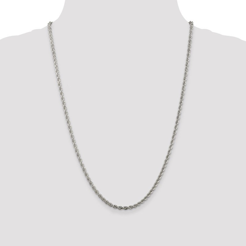 JC Sipe Essentials Sterling Silver 3mm Solid Rope Chain