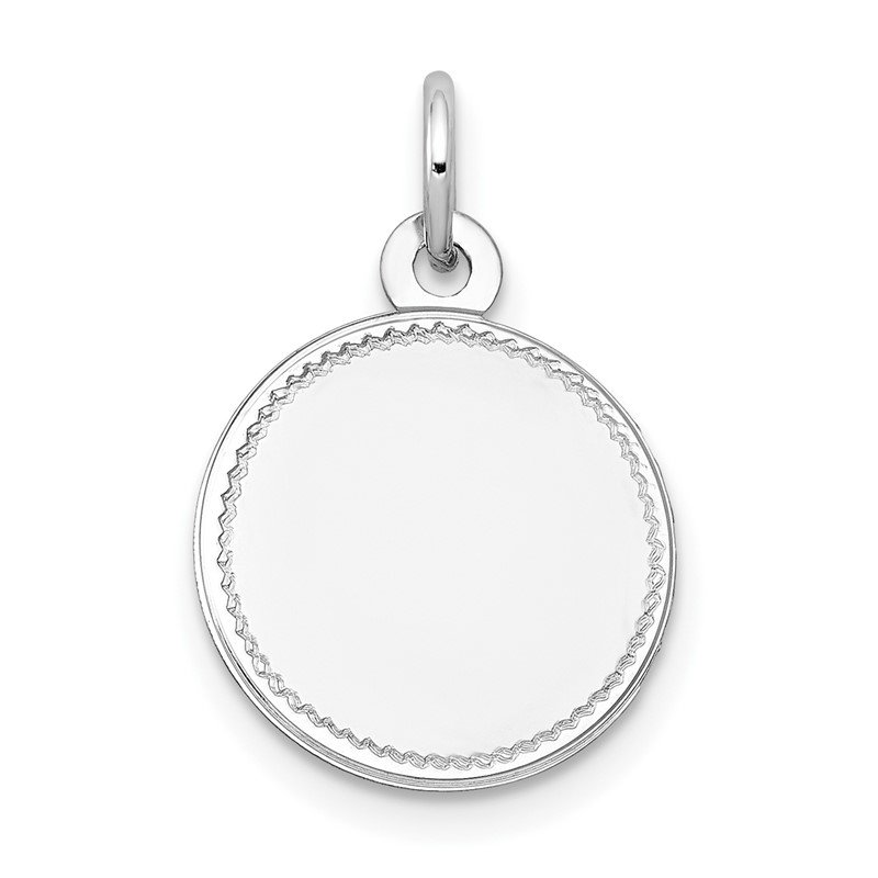 J.F. Kruse Signature Collection 14k White Gold Plain .018 Gauge Round Engravable Disc Charm
