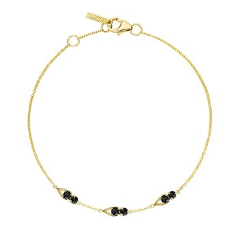 Petite Open Crescent Gemstone Bracelet with Black Onyx