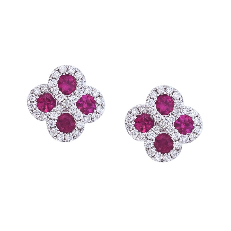 Color Merchants 14k White Gold Ruby and .26 ct Diamond Clover Earrings