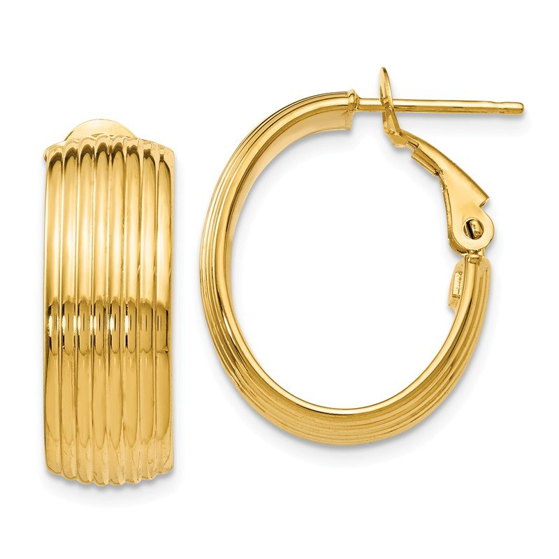 Leslie's Italian Gold Leslie's 14K Polished and Textured Hoop Earrings