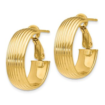 Leslie's 14K Polished and Textured Hoop Earrings