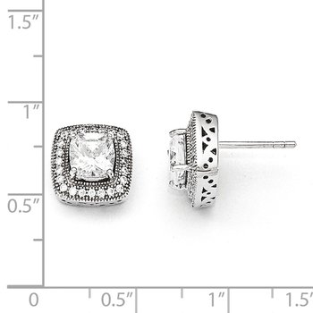 SS Rhodium-Plated & CZ Brilliant Embers Post Earrings