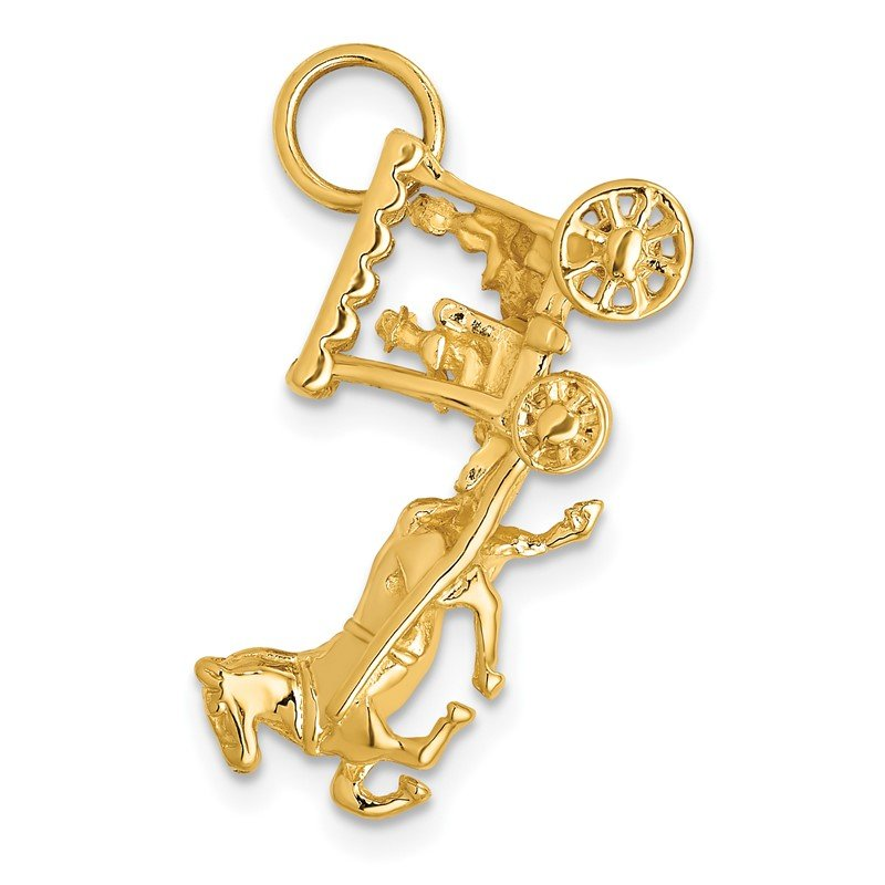 Quality Gold 14k Solid Polished 3-Dimensional Horse and Carriage Charm