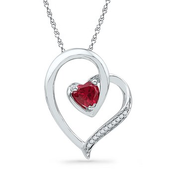 10kt White Gold Womens Round Lab-Created Ruby Heart Love Pendant .03 Cttw